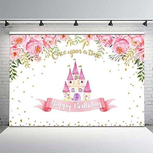 Mocsicka Castle Princess Birthday Backdrop Pink Floral Gold Glitter Dots Cartoon Castle Photo Background 7x5ft Once Upon a Time Birthday Party Backdrops for Girls