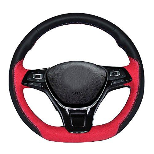 Eiseng DIY Genuine Black Leather Steering Wheel Cover for 2017 2016 2015 Volkswagen VW Jetta ...
