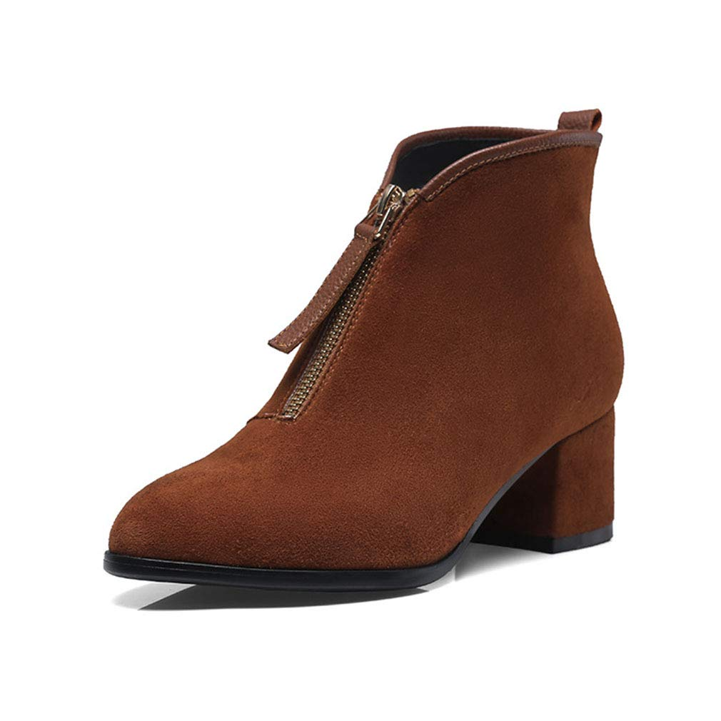 B Women's shoes Suede Fall Winter Bootie Fashion Boots Boots Chunky Heel Closed Toe Pointed Toe Booties Ankle Boots (color   A, Size   38)