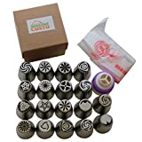Russian Piping Tips Set by Smart Chef Custo, Icing Nozzles Cake Decoration Tips, Home Baking DIY Tools - 25 PCS/SET (18 Large Size Stainless Steel Nozzles, 1 Tri-Color Coupler and 6 Pastry Bags)