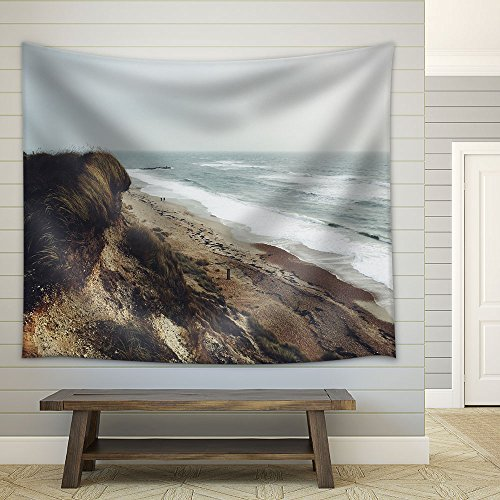 Mountain Seashore in Winter Fabric Wall