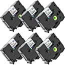 Unistar 6 Pack P Touch Label Tape Compatible Brother Label Maker TZe-241 Black on White Standard Laminated - 26.2 Feet (8m) X 3/4 Inch (18mm)