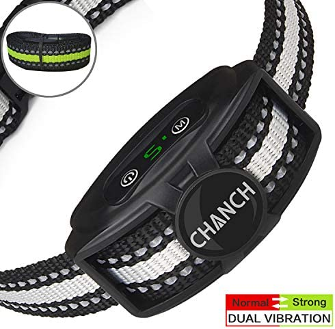 Bark Collar Rechargeable Upgraded 2020 – Anti Barking Collar for Dogs – No Shock Bark Collars with Dual Vibration Motor – Humane Dog Bark Collar Stop Barking for Small Medium Dogs
