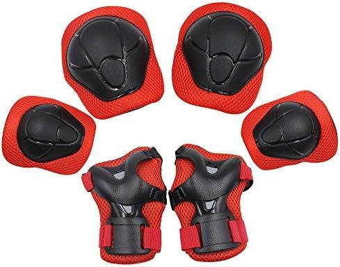 Protecciones de Seguridad con Almohadillas para Rodillas, Codos, Palmas, Muñecas,BMX, Bicicleta, Skate, Monopatín,Niño Rodillo,Patinaje POR MIRX (Rojo): Amazon.es: Deportes y aire libre
