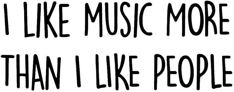 PLU I Like Music More Than People Black Decal Vinyl Sticker   Cars Trucks Vans Walls Laptop   Black   7.5 x 3.1 in   PLU1928