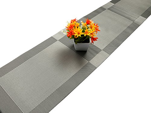 U'Artlines Compatible Placemats Table Runner, 1 Piece Crossweave Woven Vinyl Table Runner Washable 30x180cm (Grey, Table -