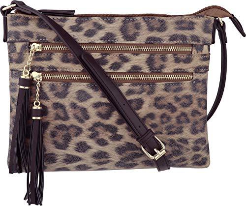 (B BRENTANO Vegan Multi-Zipper Crossbody Handbag Purse with Tassel Accents (Leopard Brown) )