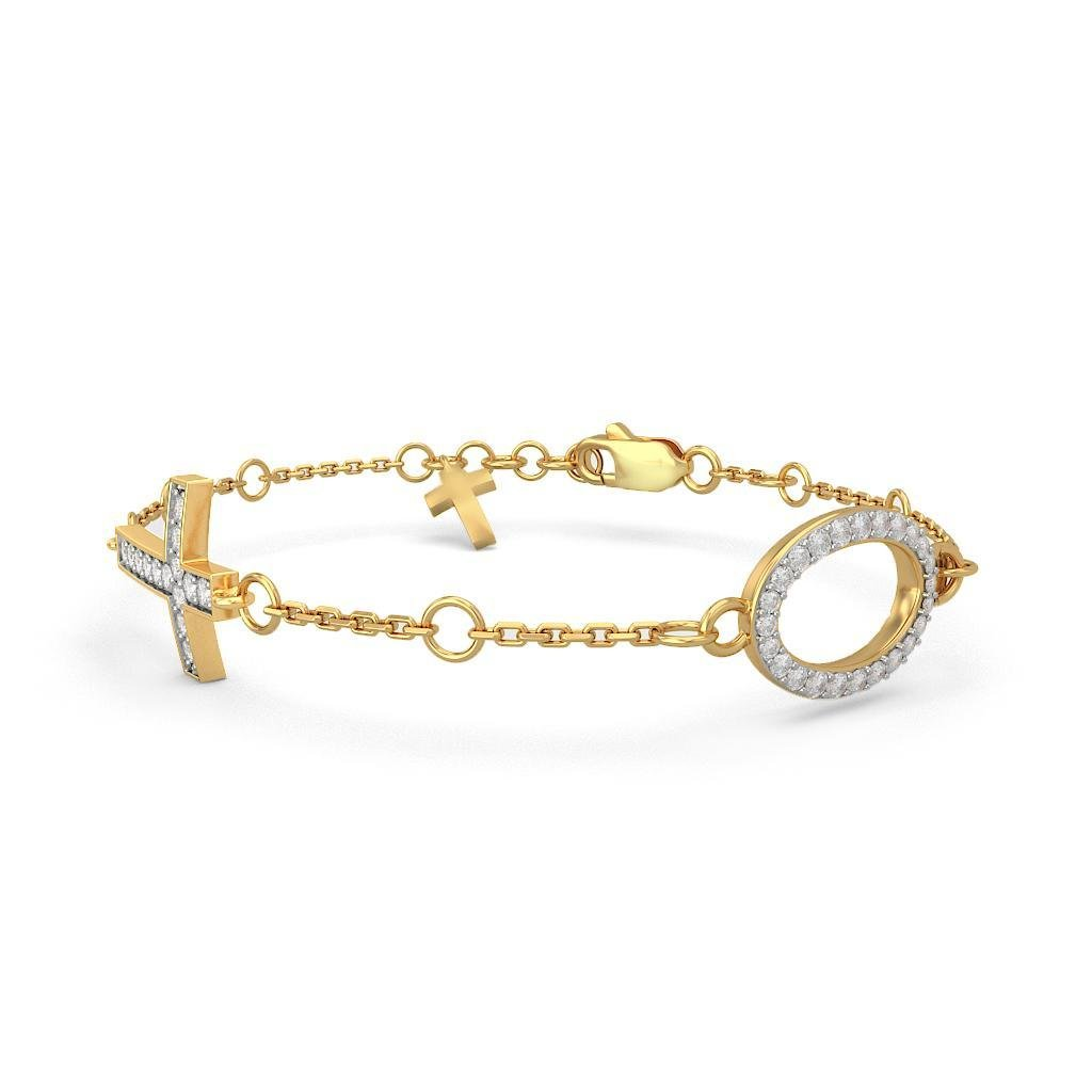 HallMarked identification-bracelets Size 7 inches IJ| SI 14K Yellow Gold 0.336 cttw Round-Cut-Diamond