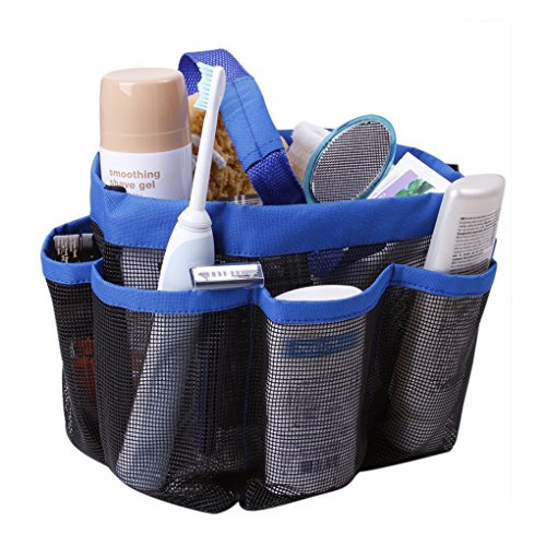 Holiberty® Quick Dry Hanging Toiletry Cosmetics Bath Organizer with 8 Mesh Storage Pockets Portable Shower Tote Shower Organizer Mesh Shower Caddy Bathroom Accessories Bathrooms Bag Dorm Gym Camp & Travel Tote Bag Pouch with Handle - Blue