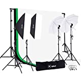 Upland Photography Studio Lighting Kit, 800W 5500K Umbrella Softbox Continuous Light Kit for Product, Portrait and Video Shoot