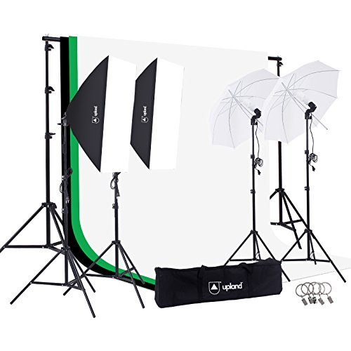 Upland Photography Studio Lighting Kit, 800W 5500K Umbrella Softbox Continuous Light Kit for Product, Portrait and Video Shoot (Kit Studio Lighting)