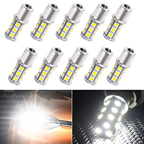 Super Bright 1156 1141/1003/1073/BA15S/7506 LED Replacement Light Bulbs 18 SMD 5050 LED Bulb for RV Camper SUV MPV Car Turn Tail Signal Brake Backup Light, DC 12V (White, 10 Pcs )