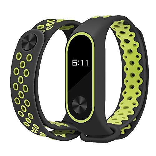 Para Xiaomi Mi Band 2 Banda sustituible correa Brazalete resistente al sudor correa deportiva de silicona respirable suavidad pulsera, silicón de Band-Sports para Xiao Mi Band 2 (Negro & amarillo)