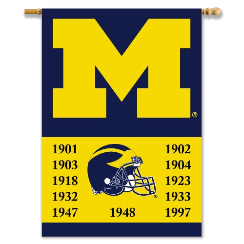 (NCAA Michigan Wolverines Champ Years 2-Sided Banner with Pole Sleeve, 28 X 40-Inch )