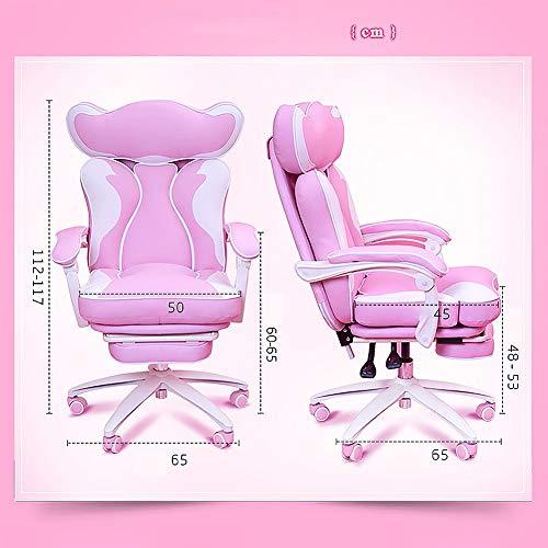 Datorspelstol rosa söt, hemlyft vilar levande stol ergonomisk spelstol-fotstöd