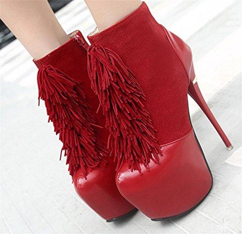MNII Frauen-Troddel-Weinlese-Spitze-schwarze Pumpen-Plattform-niedrige Spitzenrote hohe Absatz-Knöchel-Aufladungs-Partei-Schuhe- Modeschuhe Red