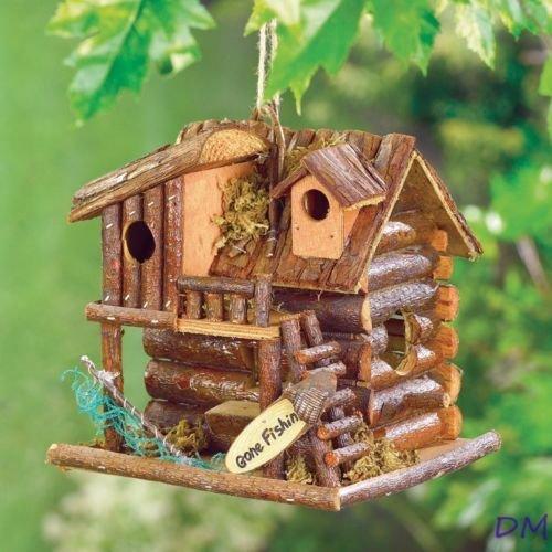 BIRDHOUSE: Gone Fishing Wood Log Cabin Bird House NEW