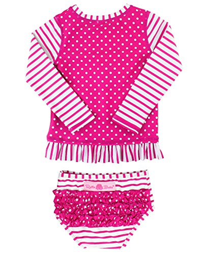RuffleButts Baby/Toddler Girls Rash Guard 2-Piece Long Sleeve Swimsuit Set - Berry Stripe Polka Dot UPF 50+ Sun Protection - 12-18m