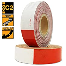 "LizardTape DOT C2 Reflective Conspicuity Diamond Grade Tape, Automotive, Motorcycle, Trailer Tractor Truck Reflectors, Safety Caution Warning, 6"" Red / 6"" White Reflective Outdoor Safety Tape, 2""x150'"