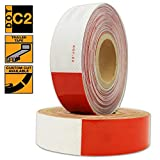 "KwikSafety DOT C2 Reflective Trailer Tape | Diamond Quality High Grade Conspicuity PET Commercial Roll | Truck, Auto, Tractor, Boat, RV's, Semi's | Safety Automotive Adhesive | Red & White 2"" x 150'"