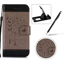 Strap Leather Case for LG G5,Carrying Wallet Pouch Cover for LG G5,Herzzer Premium Stylish Elegant [Gray Butterfly Tree Girl Pattern] Color Stitching PU Leather Flip Fold Stand Card Holders Smart Case Cover for LG G5 + 1 x Free Black Cellphone Kickstand + 1 x Free Black Stylus Pen