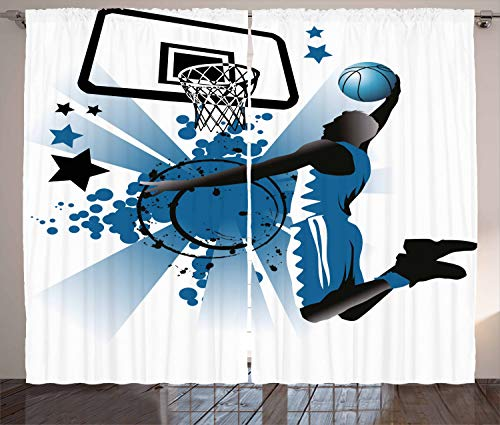 "Ambesonne Teen Room Curtains, Silhouette of Basketball Player Jumping Success Stars Illustration, Living Room Bedroom Window Drapes 2 Panel Set, 108"" X 96"", Blue Black"