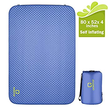 Image of Foam Pads OT QOMOTOP Self Inflating Double Sleeping Mattress, 80 x 52x 4in Thick Camping Pad, PU Foam, 24h Without Leaks, Level 3 Waterproof 13.6lbs, Suitable for 2 Person