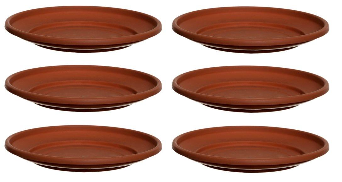 6 x Terracotta Colour Plastic Plant Pot Saucer 27cm Saucer Whitefurze