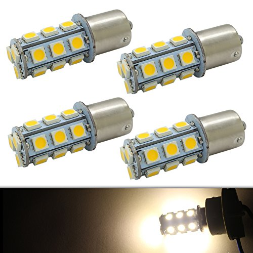 CIIHON 1156 1141 7506 LED Bulb BA15S P21W 18-5050 SMD Interior Lights Replacement Backup Reverse 12V RV Camper 6000K Warm White Super Bright Pack of 4, 1 Year Warranty