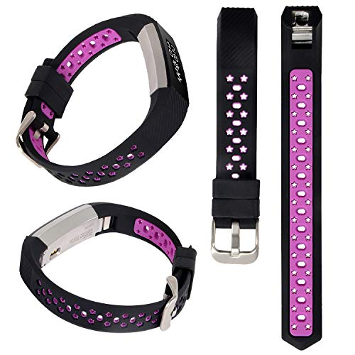 Lwsengme Silicone Strap Compatible with Fitbit Alta/Fitbit Alta HR Wrist Replacement Band Smart Watch Fitness Strap Accessory (Black/Pink)