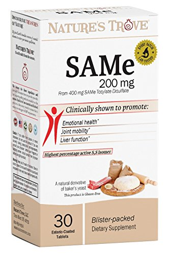 SAM-e 200mg Daily Supplement - Promotes Positive Mood and Joint Comfort - 30 Enteric Coated Caplets - Cold Form Blister Packed - by Nature's Trove