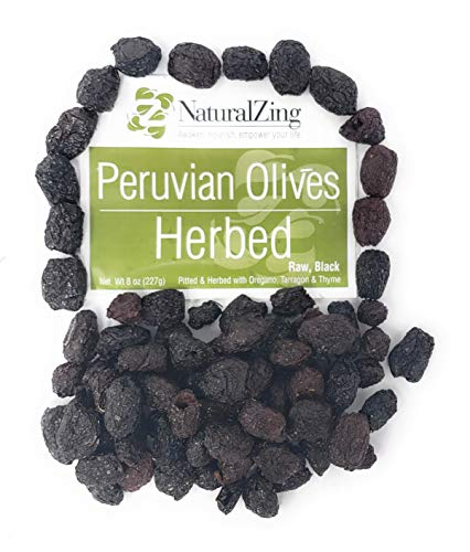 Medium Pitted Olives Black (Peruvian Black Dried Olives, Herbed, Pitted (Raw, Organic) 8 oz)