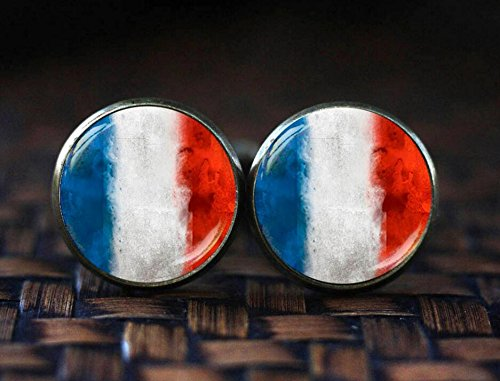 French Flag cufflinks, France cufflinks, France Patriotic gift, French cuff links, French - Cufflinks Amethyst Silver Plated
