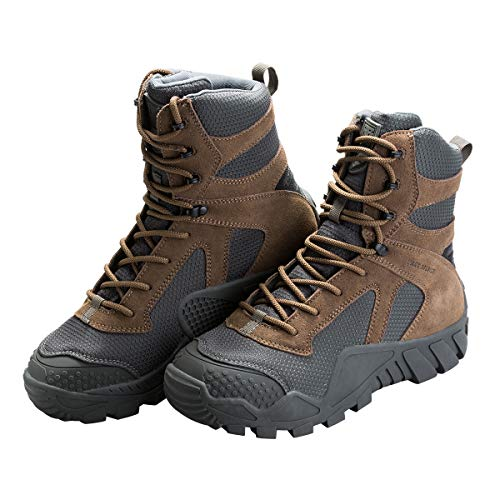 (FREE SOLDIER Men's Tactical Boot All Terrain Suede Leather Shoes Outdoor Hiking Military Boots(Coyote Brown, 10.5 M US))