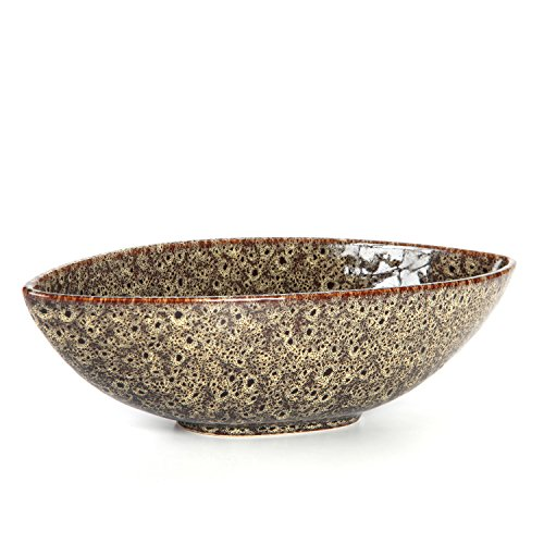 Hosley's Decorative Oval Ceramic Bowl, Peacock-Feather Pattern - 14.5