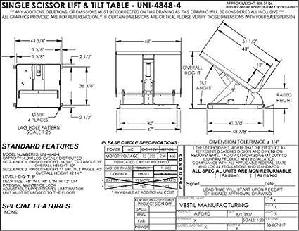 Vestil UNI-4848-4 Scissor Lift Table, 4000 lb  Capacity, 48