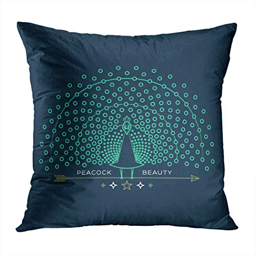 Sgvsdg Throw Pillow Cover Illustration Thin Line Peacock Icon Square Hidden Zipper Home Living Room Car Cushion Cover Decorative Pillowcase 20 X 20 -