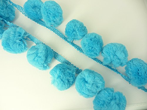 Super Jumbo Blue Green Pom Pom Fringe Giant Bobbles Ball Sewing Embriodery Braid (Sew Pillow Trim)