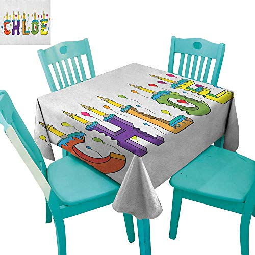 longbuyer Chloe,Printed Tablecloth,Lettering with Cheerful Bitten Cake Candles Girly Birthday Party Design First Name,54