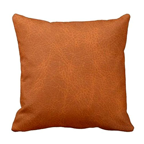 Caramel Throw Pillow, Faux Leather Pillow, Square Pillow, Art Pillow, Couch Pillow, Living Room Decor, Bedroom Decor