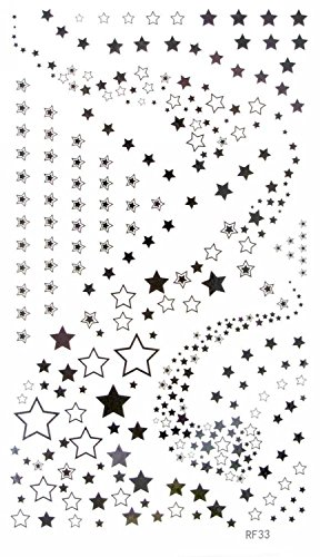 MapofBeauty Black and White Brilliant Star Temporary Waterproof Tattoos Body Art Sticker (2 pcs/lot)