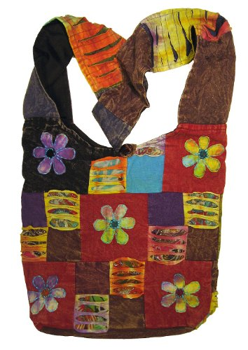 Patchwork Handbag Purse - Happy Flowers Razor Cut Patchwork Sling, Crossbody Handbag Purse