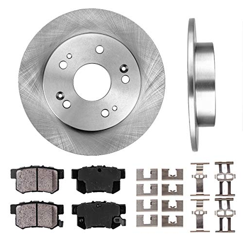 REAR 259 mm Premium OE 5 Lug [2] Brake Disc Rotors + [4] Ceramic Brake Pads + Clips ()