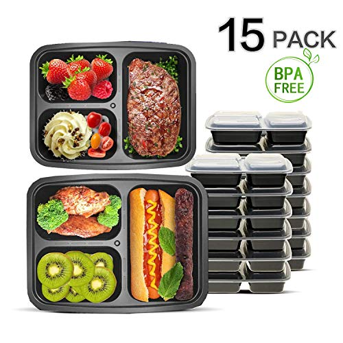 Enther Meal Prep Containers [15 Pack] 3 Compartment with Lids, Food Storage Bento Box | BPA Free | Stackable | Reusable Lunch Boxes, Microwave/Dishwasher/Freezer Safe,Portion Control (36 oz) by IOTOP