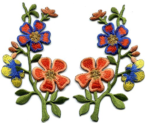 Orange yellow blue wild flowers pair embroidered appliques iron-on patches S-1374