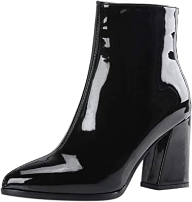 Women Boots Pointed Mirror Patent