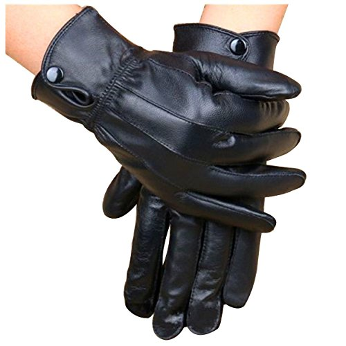 Motorcycle Gloves - TOOGOO(R) Leather Coral Fleece Cycling Motorcycle Motorbike Bike Riding Warm Glove Winter Black