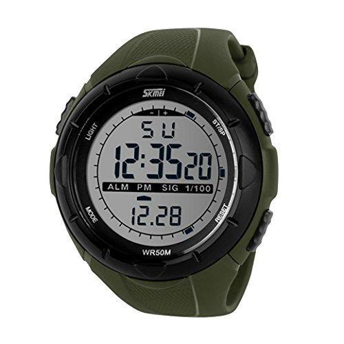 Happy Cherry Deportivo LED Reloj Digital de Cuarzo con Correa de Gaucho Esfera Grande Multifunción Alarma Cronómetro Calendario Waterproof Wrist Watch Para ...