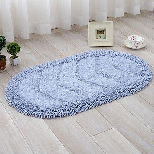 Chenille Carpet mats Oval mat Living Room Sofa Home Carpet pad Bedroom Bedside Carpet mats Absorbent Non-Slip Bath mats (Color : Blue, Size : 5080CM)