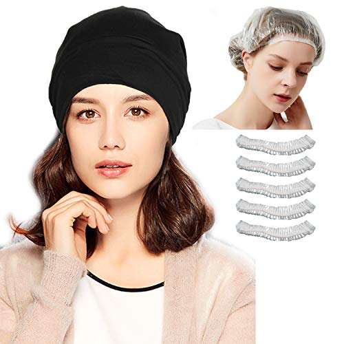 ELLEWIN Soft Chemo Cap Sleep Turban, Hat Liner Lightweight Headwear for Women with Chemo Cancer Hair Loss Black